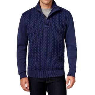 Weatherproof NEW Blue Mens Size 4XLT 1/2 Zip Cable-Knit Solid Sweater