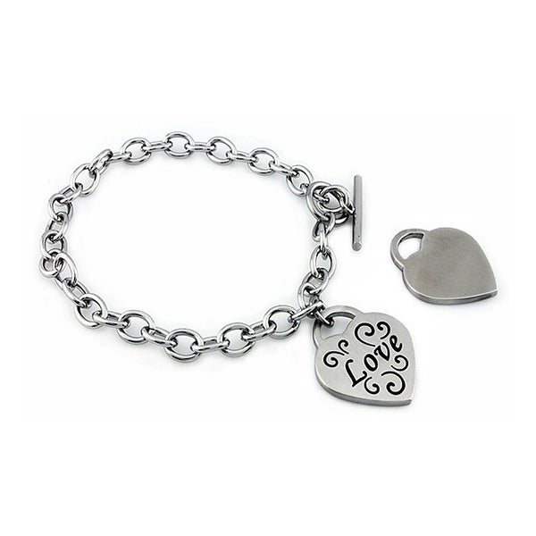 Stainless Steel Ladies Love Heart Charm Bracelet - 7.5 inches