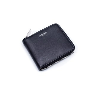 Saint Laurent Black Paris Coin Pouch Grain De Poudre Textured Wallet - S