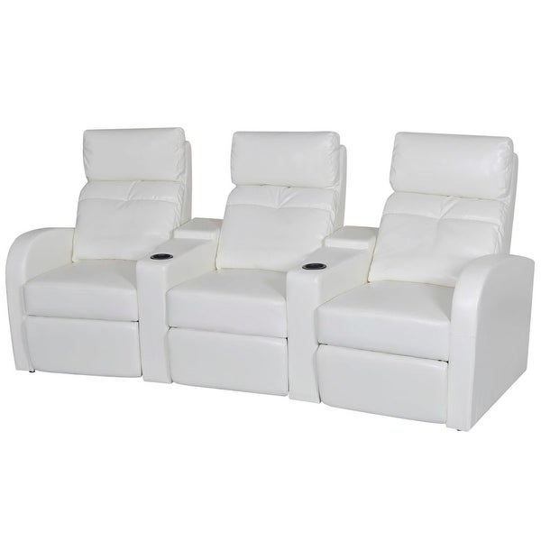 White Artificial Leather 3-Seat Home Theater Recliner Sofa Lounge w/ Cup  Holder