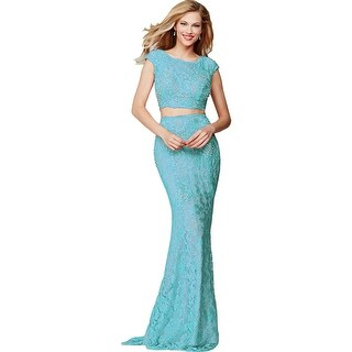 Jovani 2PC Lace Crop Top Dress