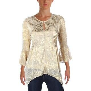 T Tahari Womens Kate Blouse Asymmetric Metallic