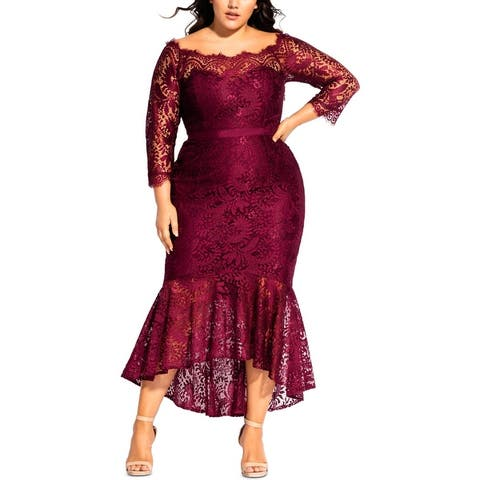 City Chic Womens Plus Estella Evening Dress Lace Off-The-Shoulder