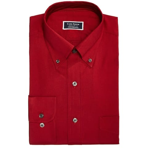 Club Room Mens Dress Shirt Red Large XL Performance Non-Wrinkle Stretch