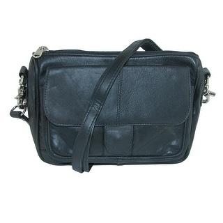 CTM® Leather Flap Front Pocket Waist Pack Belt Bag - one size