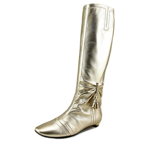 Roger Vivier Stivale Nappine T.15 Women Round Toe Leather Gold Knee High Boot