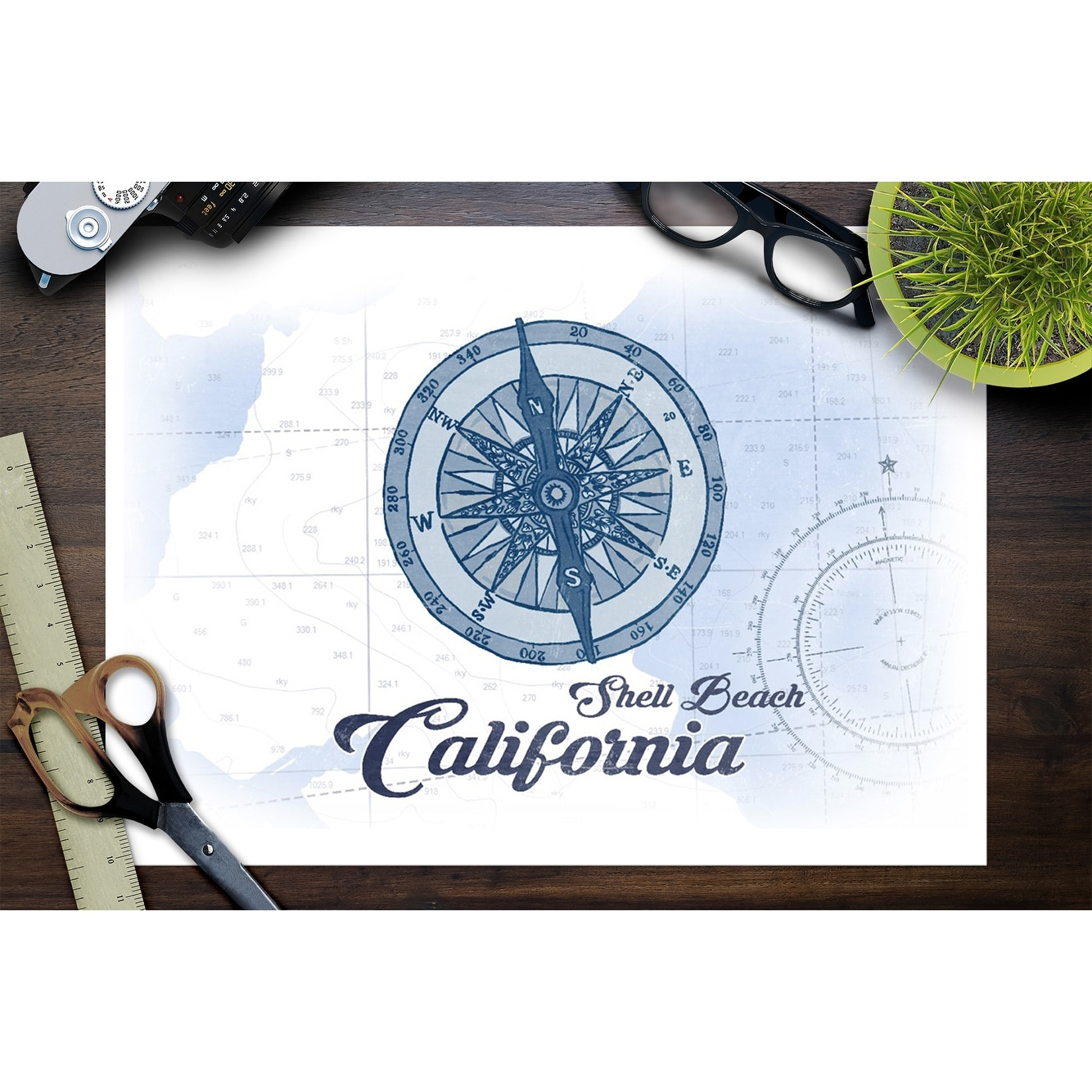 Shell Beach California Compass Blue Coastal Icon Lantern Press Artwork Art Print Multiple Sizes Available Overstock 27931699
