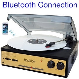 Boytone BT-13G with Bluetooth Connection 3-Speed Stereo Turntable Belt Drive 33/45/78 RPM, 2 built in Speakers AM/FM Stereo Radi