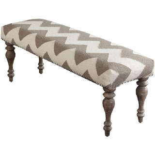 "47"" Frontier Deepest Blue and Beige Wool with White Wood Turned Legs Decorative Bench"