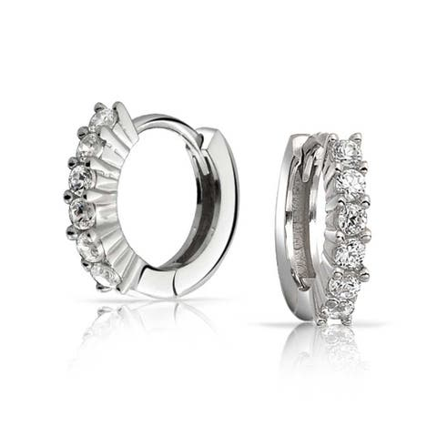 99f05a172 5 Solitaire Prong Set CZ Small Kpop Huggie Hoop Earrings For Women For Men  Round Cubic