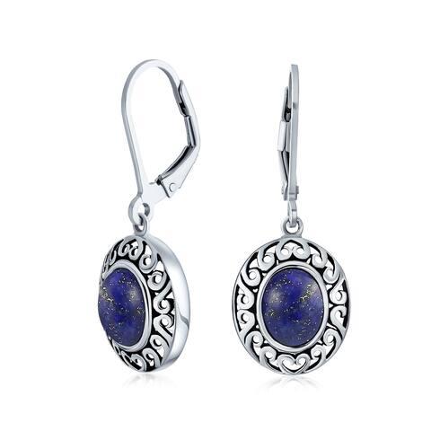 Bali Gemstone Oval Teardrop Dangle Drop Earrings 925 Sterling Silver