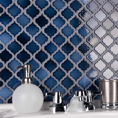"""SomerTile Hudson Tangier Midnight 12.38"""" x 12.5"""" Porcelain Floor and Wall Mosaic Tile"""
