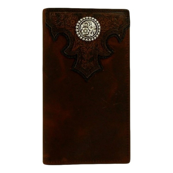 Ariat Western Wallet Mens Checkbook Rodeo Conch Scroll Brown - One size