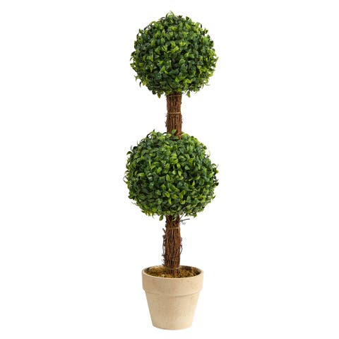 """28"""" Boxwood Double Ball Topiary Artificial Tree (Indoor/Outdoor) - 6"""""""