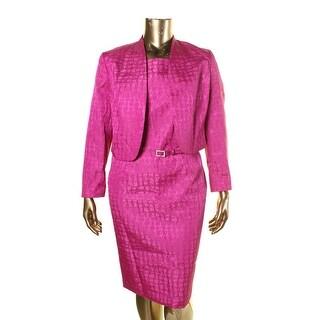 Kasper Womens Art Deco Jacquard Shimmer Dress With Jacket