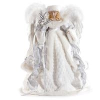 "16"" Pearl White and Silver Sparkle Angel Christmas Tree Topper"