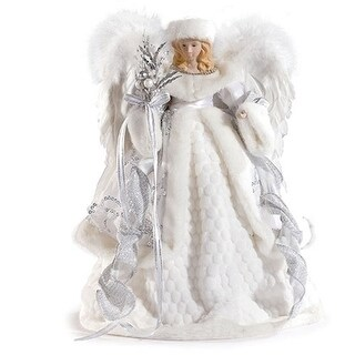 16 Pearl White and Silver Sparkle Angel Christmas Tree Topper