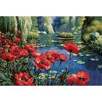 """16""""X11"""" Stitched In Thread - Lakeside Poppies Needlepoint Kit"""