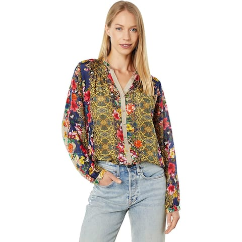Johnny Was Womens Multi Color Long Sleeve VNeck Button Down Print Blouse Top