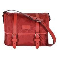 "Gucci 510335 Red Nylon Leather GG Guccissima Messenger Bag Crossbody Purse - 11.5"" x 9.5"" x 5"""