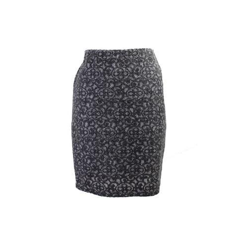 Studio M Charcoal Fuzzy Lace Skirt L