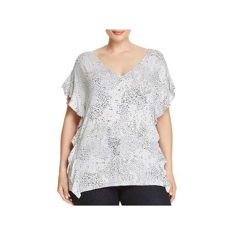 Lysse Leggings Womens Plus T-Shirt Printed Flutter Sleeves