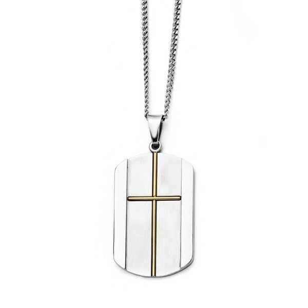 Chisel Stainless Steel Yellow IP-plated Cross Brushed and Polished Necklace (2 mm) - 22 in