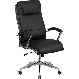 Offex High Back Designer Black Leather Executive Swivel Office Chair with Padded Arms and Chrome Base