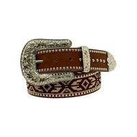 Blazin Roxx Western Belt Womens Nailheads Aztec Ribbon Brown