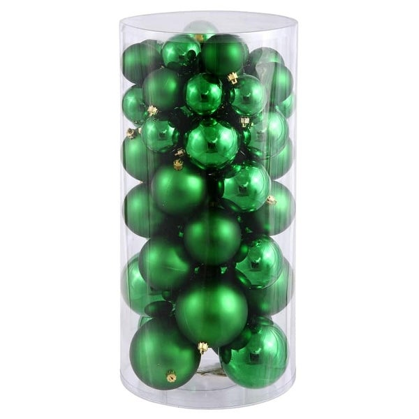 Christmas at Winterland WL-ORNTUBE-60-GR 1.5-Inch Plastic Shatterproof Green Ball Ornaments (Package of 100)