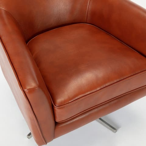 "Presada Faux Leather Swivel Armchair by Greyson Living - 30""W x 31.5""D x 34""H - 30""W x 31.5""D x 34""H"