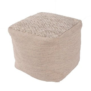 "16"" Light Gray and Tan Wool Square Decorative Pouf Ottoman"