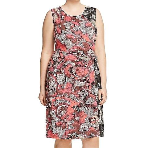 Nic + Zoe Red Tribal Tropical Print Women's 2X Plus Sheath Dress