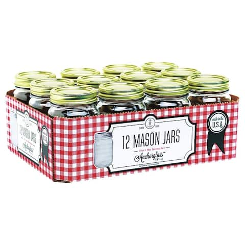 Anchor Hocking 10985 1 Pint Regular Mouth Canning Jar, 12 Pack
