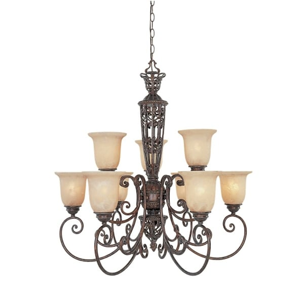 Designers Fountain 97589 Nine Light Up Lighting Two Tier Chandelier From The Amherst Collection Burnt