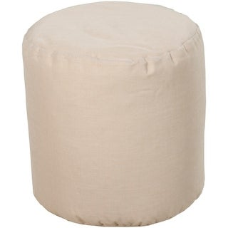 "18"" Beige Circle Chic Round Outdoor Patio Pouf Ottoman"