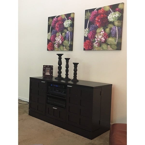 Tosato Shaker-Style Brown Wood TV Stand and Media Cabinet - Free ...