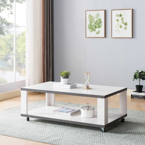 Q-Max Two-Toned Coffee Table with Casters, Cocktail Table with Bottom Shelf, White Oak and Distressed Grey Finish