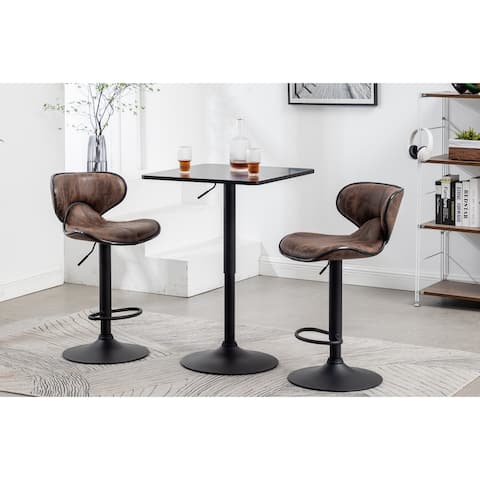Adjustable 27-36 Height Industrial Height Metal Bar Table Swivel Square Cocktail Black