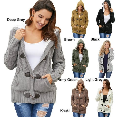 Womens Button Hooded Knit Sweater Cardigans With Pockets