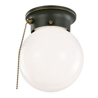 """Design House 5192 1-Light 6"""" Wide Flush Mount Globe Ceiling Fixture with Pull Chain - N/A"""