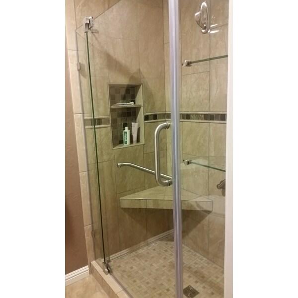 Shop VIGO Pirouette 54-inch Pivot Shower Door Clear/Brushed Nickel ...