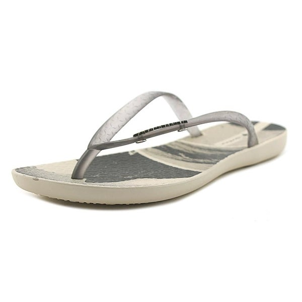 Ipanema Wave Post Women Open Toe Synthetic Gray Flip Flop Sandal