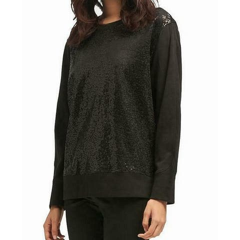 DKNY Women's Sweater Black Size Small S Pullover Sequin Illusion