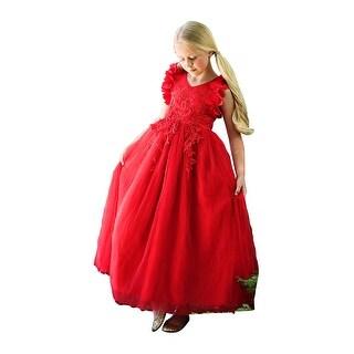Girls Red Petal Sleeve Satin Floor Length Junior Bridesmaid Dress