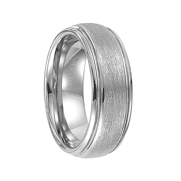 KENDALL Domed White Tungsten Carbide Ring with Wire Brush Finish and Polished Step Edges by Triton Rings - 8 mm