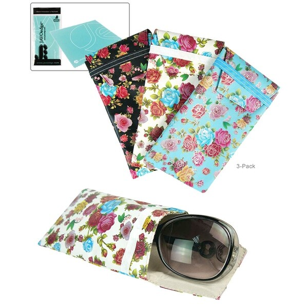 JAVOedge (3 PACK) Soft Slip In Floral Eyeglass Pouch Case (6.5 inch x 3.6 inch) Plus Bonus Cleaning Cloth - multi color