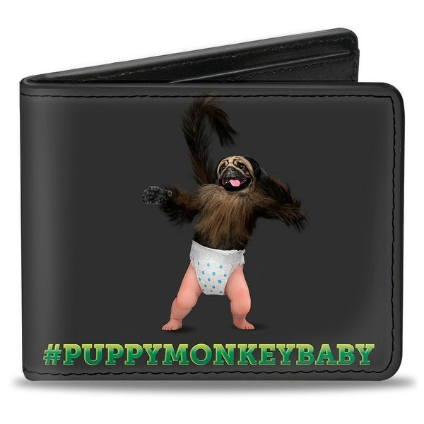 Puppymonkeybaby Pose #Puppymonkeybaby Gray Green Fade Bi Fold Wallet - One Size Fits most