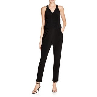 Laundry by Shelli Segal Womens Jumpsuit Embellished Neck Tie Sleeveless