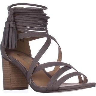 XOXO Elle Block-Heel Ankle-Strap Sandals - Taupe